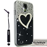 Elifestyle New for Samsung Galaxy S4 S IV i9500 3D Handmade Clear Bling Love Heart Sparkle Glitter Rhinestone Case Cover Hard Transparent + Elifestyle Accessories stylus pen + Clean Cloth