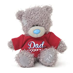 Me to You 4-inch Tatty Teddy Bear wearing a Cute 'Dad' T-Shirt (Grey)