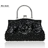 2016 New Womens Beading Evening Bags Elegant Ladies Handbags Sequined Party Wedding Purses Handmade Flowers Day Clutches (Black )
