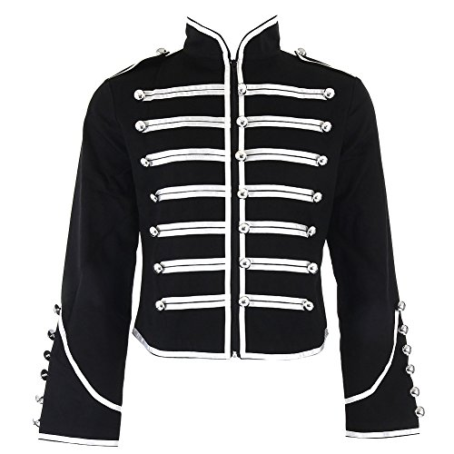 Banned-Mens-Black-and-Silver-Military-Jacket