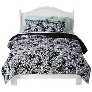 Amazon Com Damask Comforter Set Black White Twin Xl