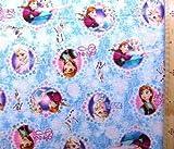キャラクター生地・アナと雪の女王#12(ブルー)