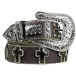 Rhinestone Cross Brown Leather Western Belt Size L 35