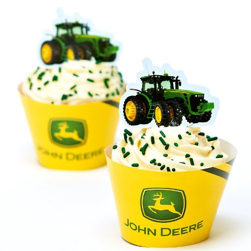 John Deere Cupcake Pick Decorations With Matching Baking Cup Wrappers, 12 Count