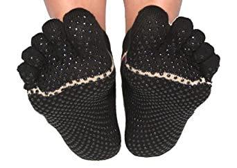 ToeSox Full Toe with Grip Yoga/Pilates Toe Socks, Black, Xsmall