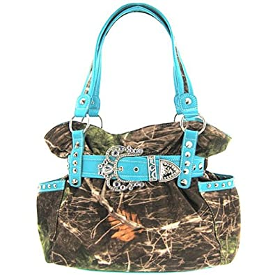 Blue Belted Rhinestone Western Buckle Soft Camo Purse Camouflage Cowgirl Bag