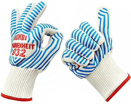 Cooking Gloves - Heat Resistant Gloves - use as Pot Holders, BBQ Gloves, Oven Mitts - Kohbi(R) Fahrenheit 932 Set of 2 Gloves - Premium Protection Certified at 932 Degrees F - Small (Oven Gloves Heat Resistant Small compare prices)