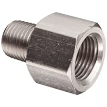 "Polyconn PC120NB-64 Nickel Plated Brass Pipe Fitting, Adapter, 3/8"" NPT Male x 1/4"" NPT Female (Pack of 10)"