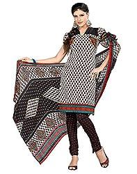 Lookslady Crepe White Women Unstitched Salwar Kameez Suit Dress Material