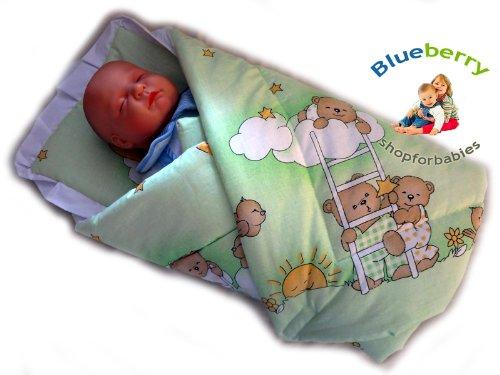 Blueberry Shop Newborn Baby Swaddle Wrap Blanket Duvet Sleeping Bag Baby's Horn Green