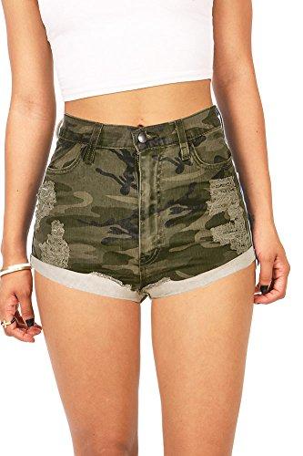 Vibrant Women's Juniors High Waist Distressed Camouflage Shorts (S, Camo) Women Camouflage Shorts