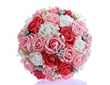 Bridess Lace Pearl Rose Holding Wedding Bridesmaid Bouquet with Flower(red+pink+white)