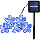 Qedertek Solar String Lights, 23Ft Outdoor Waterproof 50 LED Cherry Flowers Fairy Lighting Decorations for Christmas, Patio, Lawn, Fence, Outside, Holiday (Blue)