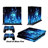 PS4 Decals Playstation 4 Skins Playstation PS 4 Stickers Games Decal Custom Modded Skin Accessories Vinyl Sticker for Sony PS4 Console and Two Remote Play Station 4 Controllers - Skull of Blue Fire