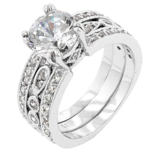 Anniversary 6.8 CT 14k White Gold Plated CZ Queen Ring Size 10
