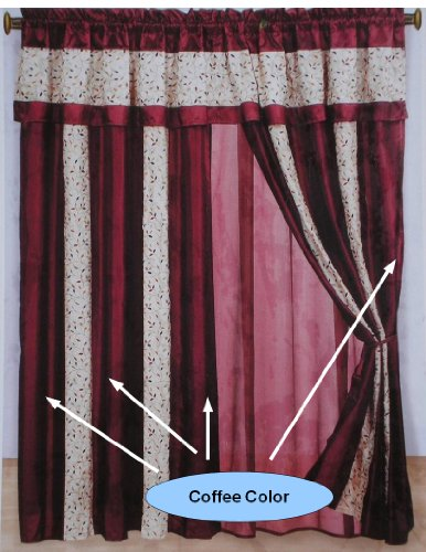 A Pair of Faux Silk Chocolate Brown / Beige Embroidery Valance Window Curtains / Drapes / Panels with Sheer Lining Set.