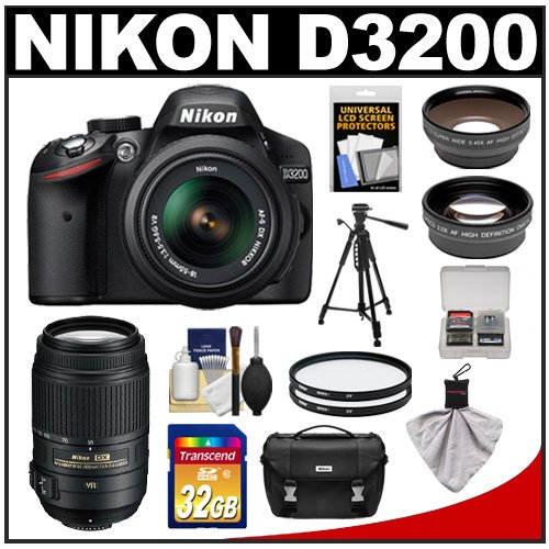 Nikon D3200 Digital Slr Camera & 18-55Mm G Vr Dx Af-S Zoom Lens (Black) + 55-300Mm Vr Lens + 32Gb Card + Case + Filters + Tripod + Telephoto & Wide-Angle Lens Kit