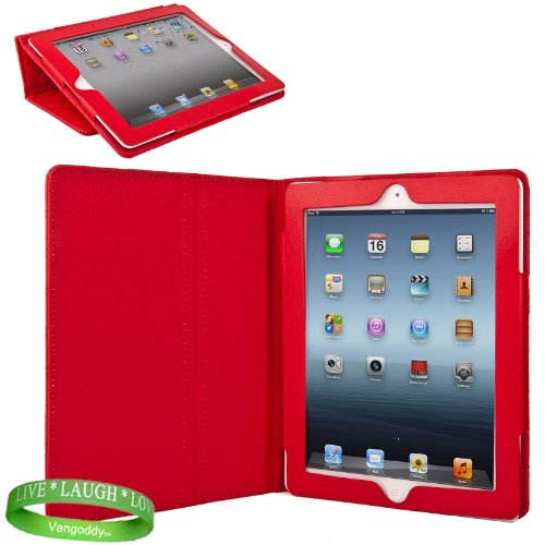Red Padded iPad Skin Cover Case Stand with Screen Flap and Sleep Function for all Models of The New Apple iPad ( 3rd Generation, wifi , + AT&#038;T 4G , 16 GB , 32GB , 64 GB, MC707LL/A , MD328LL/A , MC705LL/A , MC706LL/A, MD329LL/A , MD368LL/A , MC756LL/A , MC744LL/A ect.. ) + Live * Laugh * Love Vangoddy Trademarked Wrist Band!!!