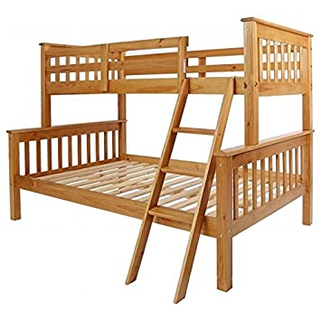 Seconique Neptune Triple Sleeper Wooden Bunk Bed Frame, Oak