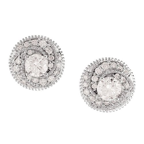Round Brilliant Shape Diamond Earrings In White Gold - 14Kt - Post W/ Back