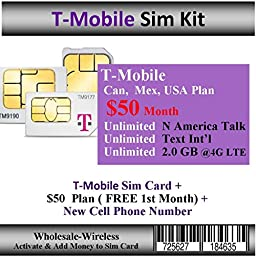 Activate-In 15 Mins T-Mobile + $50 Can, Mex, USA Plan ( Free 1st Month)