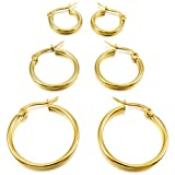 MunkiMix 15mm 20mm 25mm Edelstahl Creolen Huggie Ohrringe Ohrstecker Ohrhänger Gold Golden ( 3 Paar ) Damen