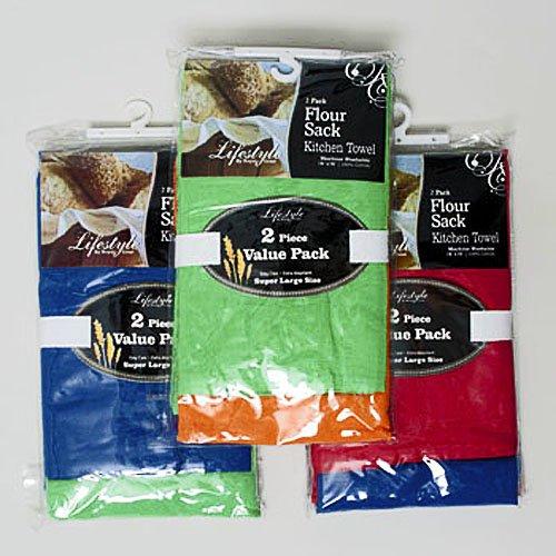 """4 Kitchen Towels Flour Sack Assorted Citrus Colors 28"""" X"""