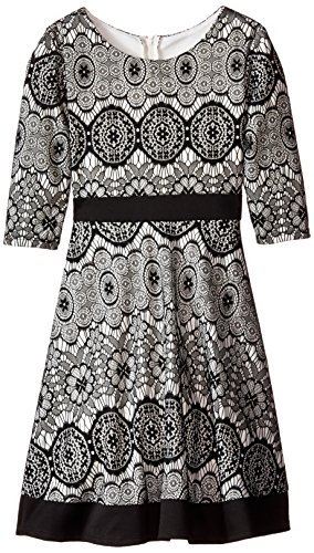 Rare Editions Big Girls' 3/4 Sleeve Lace Dress, Ivory/Black, 12