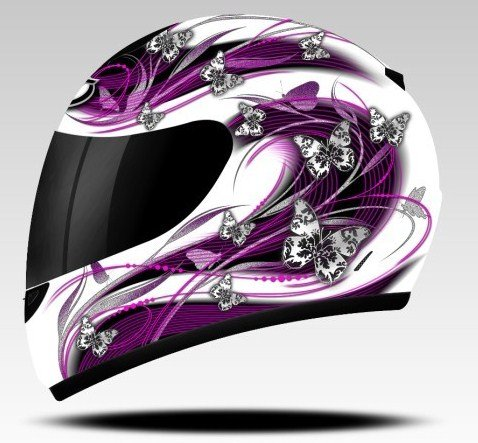 MT BUTTERFLY LADIES WOMENS FULL FACE MOTORCYCLE HELMET PINK PURPLE, Small