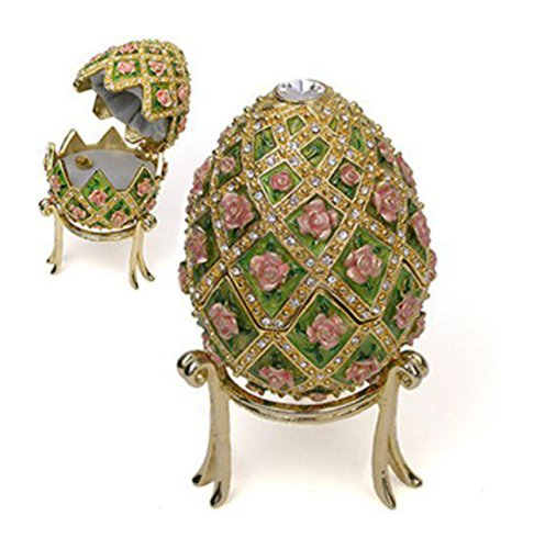 Gold Plated Jeweled Rose Full Size Russian Egg Trellis Music Box Faberge Egg 4.5″ Plays 'Swan Lake'