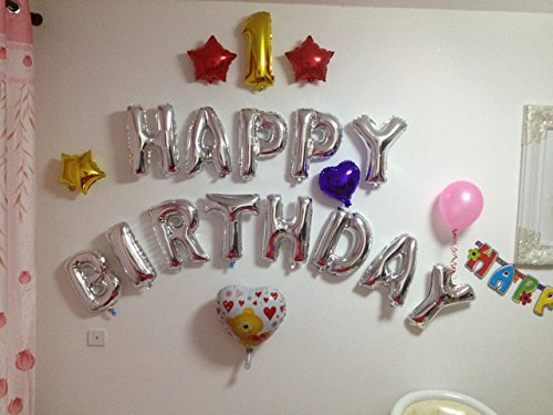 言葉で装飾・演出 35cm アルミ シルバー 文字 バルーン アルファベット 組み合わせ 自由 名前 結婚 誕生日 開店 (S : シルバー)