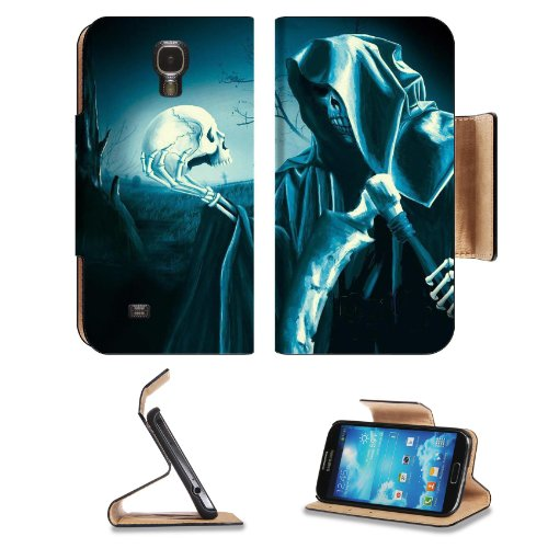 Grim Reaper Halloween Skull Death Scary Samsung Galaxy S4 Flip Cover Case with Card Holder Customized Made to Order Support Ready Premium Deluxe Pu Leather 5 1/2 inch (140mm) x 3 1/4 inch (80mm) x 9/16 inch (14mm) MSD S IV S 4 Professional Cases Accessories Open Camera Headphone Port I9500 LCD Graphic Background Covers Designed Model Folio Sleeve HD Template Designed Wallpaper Photo Jacket Wifi 16gb 32gb 64gb Luxury Protector Micro SD Wireless Cellphone Cell Phone