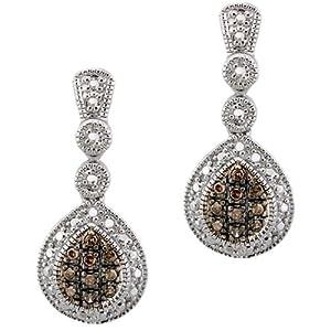 Click to buy Champagne Diamond Earrings: Sterling Silver Champagne Diamond Teardrop Earrings from Amazon!