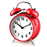 ElecBank Multi-style 4-inch Retro Twin Bell Silent Non Ticking Alarm Clock (Red)