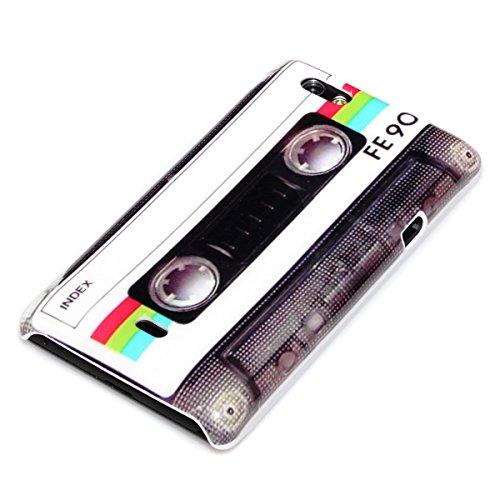 deinPhone Sony Xperia Miro ST23i HARDCASE Hülle Case Retro Kassette Weiß