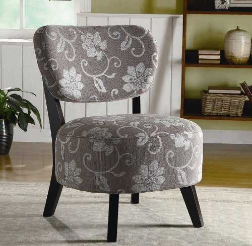 Accent Chair With Grey And White Floral Pattern In Dark
