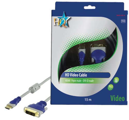 HQ Standard 15m 19P Male HDMI to Male DVI-D Audio/Video Connection Cable with Gold Plated Plugs