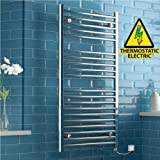 iBathUK | 1200 x 600 Thermostatic Electric Heated Towel Rail Bathroom Radiator - All Sizes