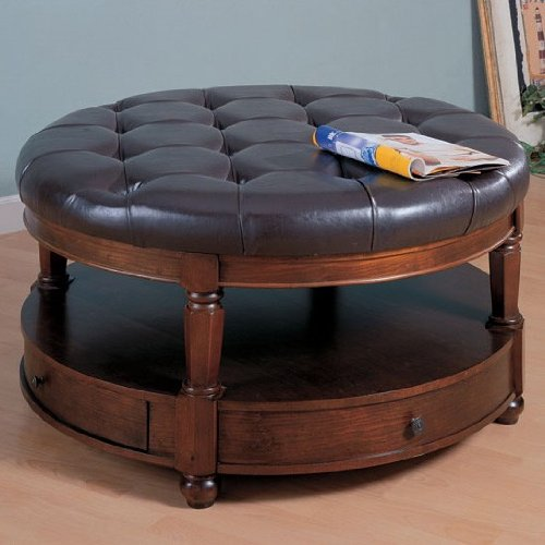 Buy low price contemporary style coffee table leather ottoman top grain quilted vf 8900 Round leather ottoman coffee table