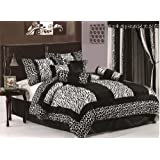 Chezmoi Collection 8-Piece Black and White Micro Fur Zebra with Giraffe Design Comforter 86-Inch by 88-Inch Bed-in-a-bag Set, Full or Double Size Bedding