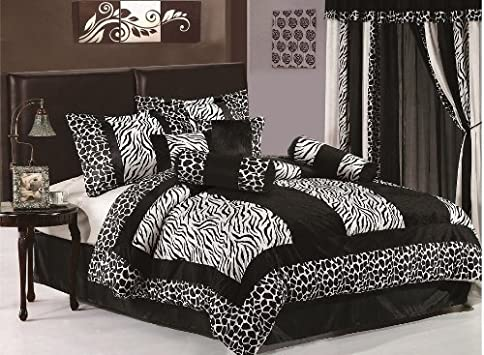 Amazing Comforter Sets Chezmoi Collection Piece Black and White Micro Fur Zebra with Giraffe