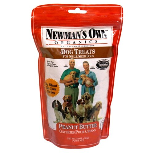 Newman's Own Organics Dog Treats for Small Sized Dogs, Peanut Butter, 10-Ounce Bags (Pack of 6)