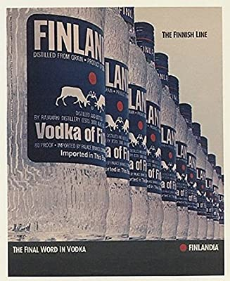 1988 Finlandia Vodka Bottles The Finnish Line Print Ad (49174)