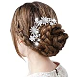 Wedding Silver-Tone 2 Sunflower Clear Austrian Crystal Hair Comb N02048-1