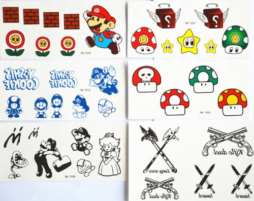 Combineshopping Latest Hot Selling Fashion Design Waterproof Non-Toxic Temporary Tattoo Stickers Combination 5Pcs/Package Different Designs, It Includes Cartoon People/Cartoon Face And Eye/Mushroom/Knife/Gun/Arrow/Etc.