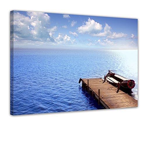 """Bilderdepot24 Leinwandbild """"Albufera lake in El Saver Valencia - Spanien"""" - 70x50 cm 1 teilig - fertig gerahmt, direkt vom Hersteller"""