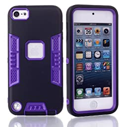 iTouch 5,Touch 6 Case,SAVYOU 3in1 Heavy Duty High Impact Armor Case Cover Protective Cover Case for Apple iPod touch 5 6th Generation (Black Purple)