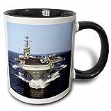 3dRose mug_98636_4 The USS Truman Naval Ship Two Tone Black Mug, 11 oz, Black/White