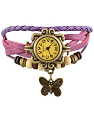 Horse Head Analog Vintage Analog Leather Bracelet Butterfly Jewellery Style Women's Watch - - B018GQIUJW