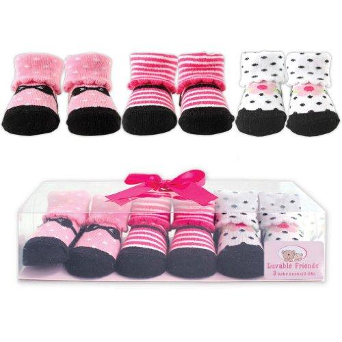 3-Piece Little Shoe Socks Gift Set, Pink, 0-9 months